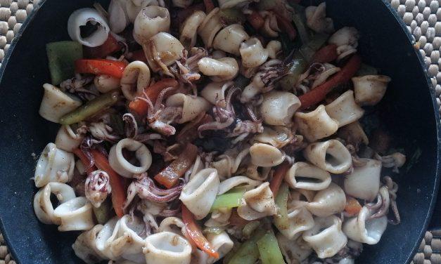 Καλαμαράκια με λαχανικά, Κινέζικη συνταγή